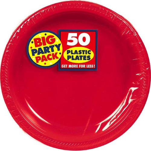 "Apple Red 10 1/4"" Plastic Plates 50Ct - Amscan"