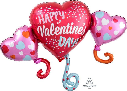 "Supershape Happy V-Day Hearts 38"" Balloon"