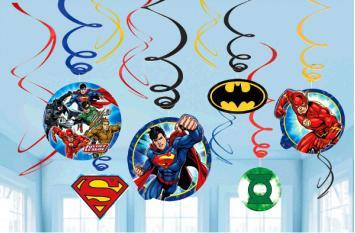 Justice League Swirl Decorations - Amscan