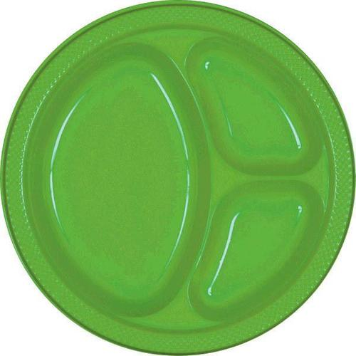 "Kiwi 10 1/4"" Divided Plastic plates 20ct - Amscan"