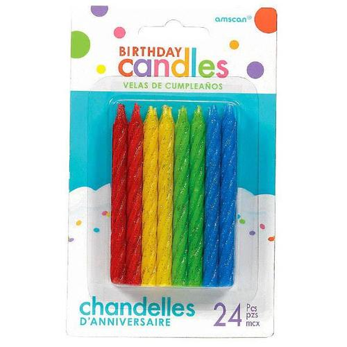 Candles Large Glitter Spiral Primary Colors - Amscan
