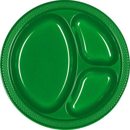 "Festive Green 10 1/4"" Divided Plastic Plates 20ct"