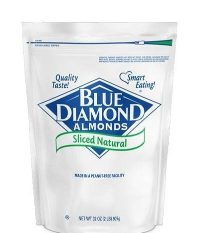 Almonds Blu Diamond Raw Natural Sliced 25lb - Blue Diamond Growers