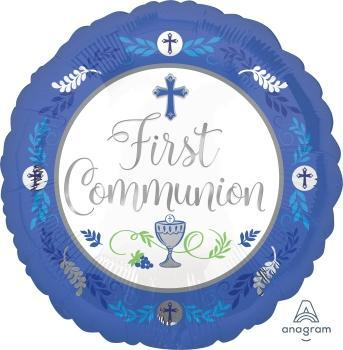 "17"" Communion Day Boy Foil Balloon - Flat"