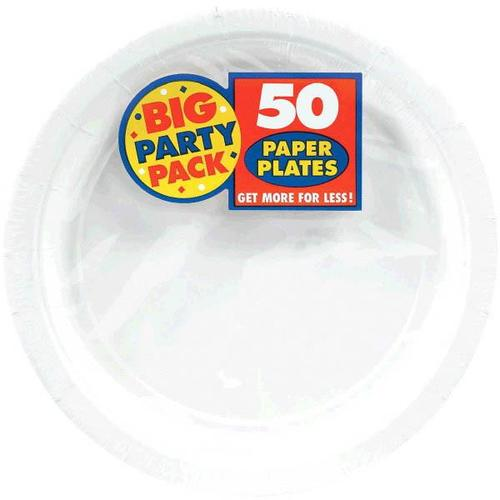 "Frosty White 9"" Paper Plates 50ct - Amscan"