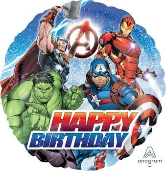 "17"" Avengers Happy Birthday Foil Balloon - Flat - Anagram"