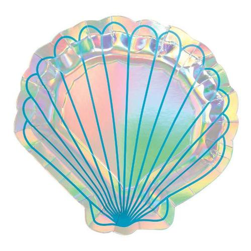 "Mermaid Wishes Shell Iridescent 7"" Plate - Amscan"
