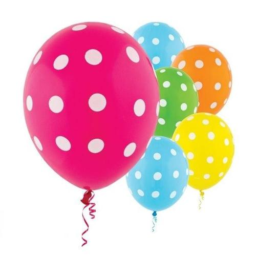 Latex Balloons Dots Brights All Over Print 20ct - Amscan