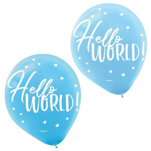 Oh Baby Boy Latex Balloons 15ct - Amscan