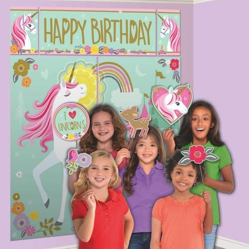Magical Unicorn Scene Setter with Photo Props - Amscan