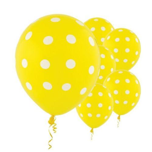 Latex Balloons Yellow Dots All Over Print 6ct - Amscan