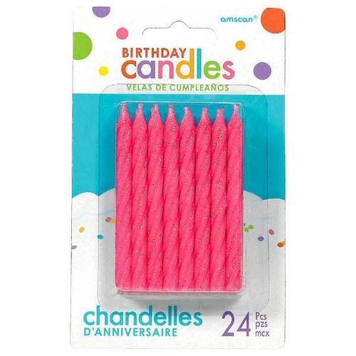 Candles Large Glitter Spiral Pink - Amscan