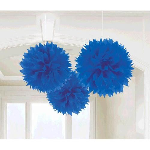 Royal Blue Fluffy Decorations 3ct - Amscan
