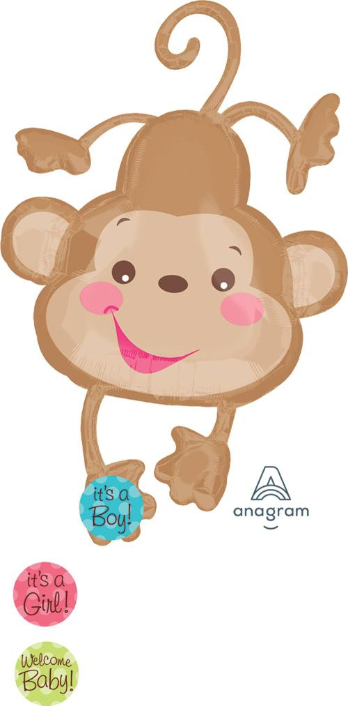 "Supershape Fisher Price Baby Monkey 40"" Balloon - Anagram"