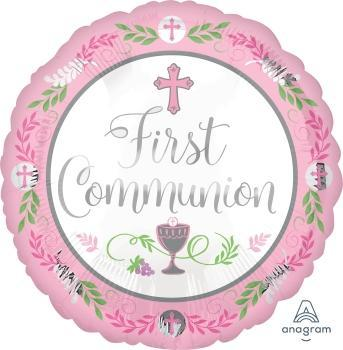"17"" Communion Day Girl Foil Balloon - Flat"