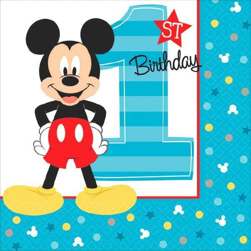 Mickey Fun To Be One Beverage Napkin - Amscan