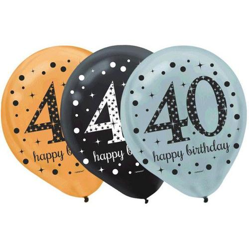 Sparkling Celebration 40th Latex Balloons 15ct