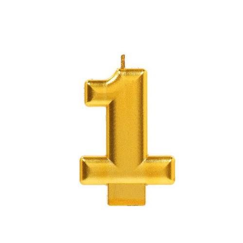 Numeral #1 Gold Metallic Candle - Amscan