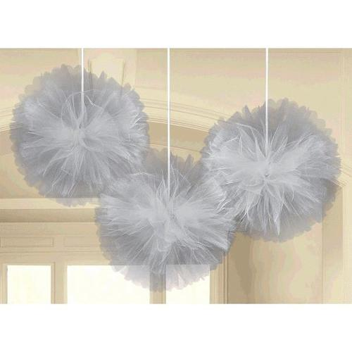 Fluffy Decorations Tulle Silver - Amscan