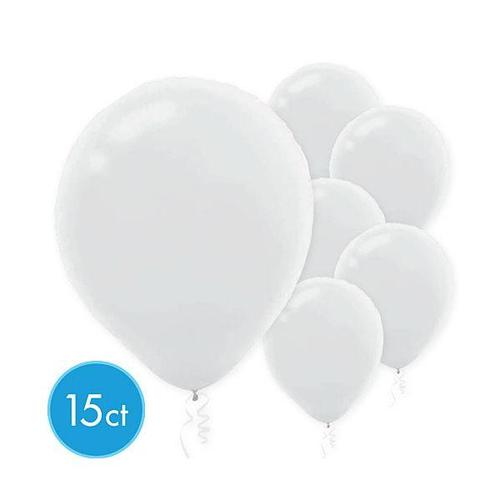Latex Balloons 15ct White - Amscan