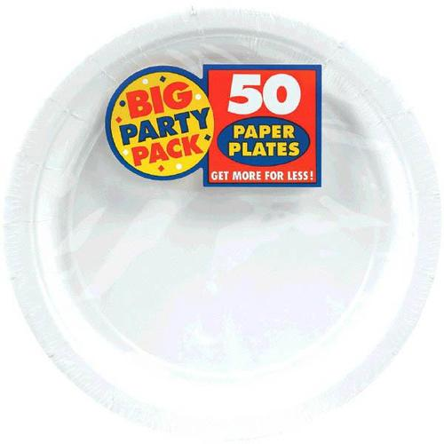 "Frosty White 7"" Paper Plates 50ct - Amscan"