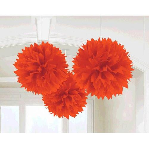 Orange Peel Paper Fluffy Decorations 3ct - Amscan
