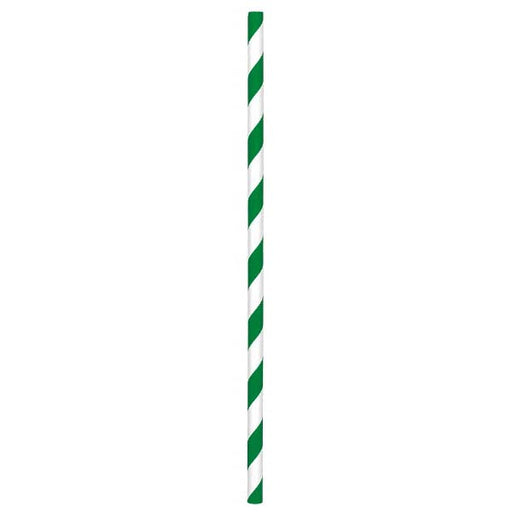 Paper Straws Festive Green 80ct - Amscan