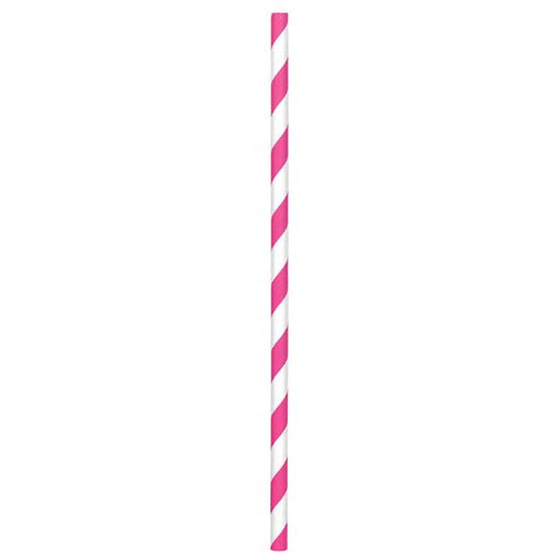 Paper Straws Bright Pink 80ct - Amscan