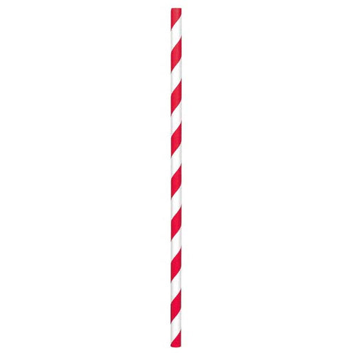 Paper Straws Apple Red 80ct - Amscan