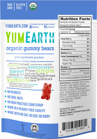 Pomegranate Pucker Gummy Bears 12/2 oz bags - YumEarth