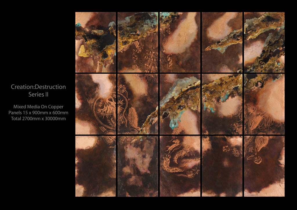 'Creation: Destruction II'<br>Sally Gibbs<br>15 panels of 60x90cm Total: 270x300cm
