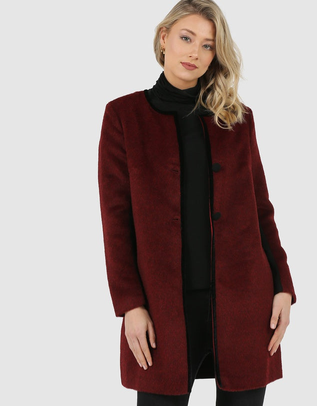 Relaxed Fit Coat-Jackets-Faye Black Label-8-Claret-Lincoln St. Clothing