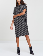 Striped Tent Dress-Dresses-Privilege-8-Charcoal-Lincoln St. Clothing