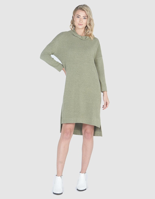 Slouch Cowl Neck Dress-Dresses-Privilege-Lincoln St. Clothing