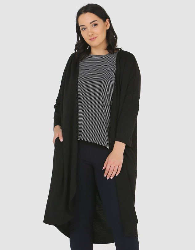 Pleated Shoulder Cardigan-Jackets-Advocado Plus-Lincoln St. Clothing