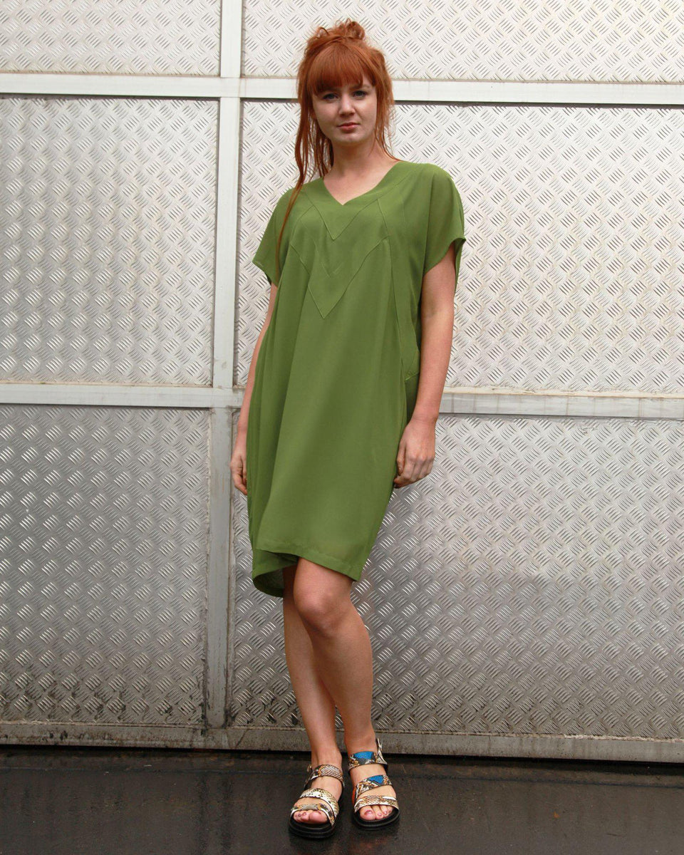 Panel Dress In Green Lincoln St Clothing