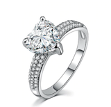 Luxury Heart Stone with 3 Carat Crystal | Silver Ring for Women