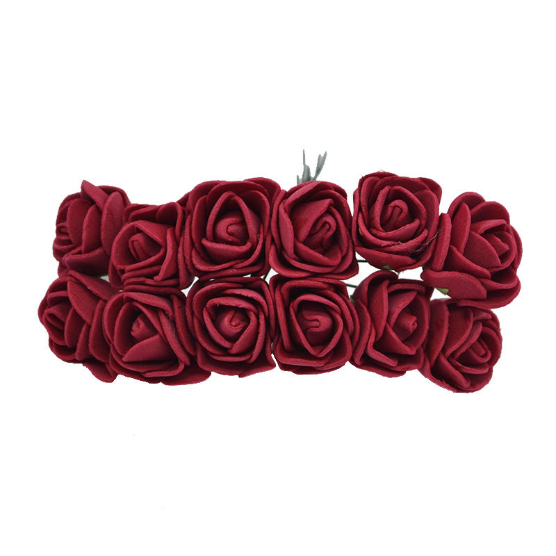 Crafts with family and natural looking artificial red roses