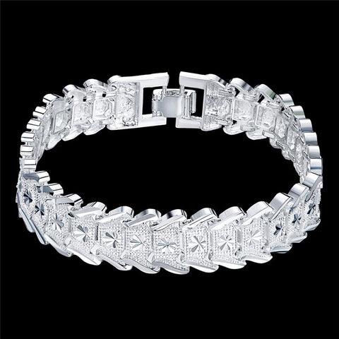 Wide elegant silver bracelet for women