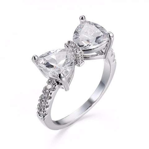 Lovely Bowknot | Cubic Zirconia | Silver Ring for Women