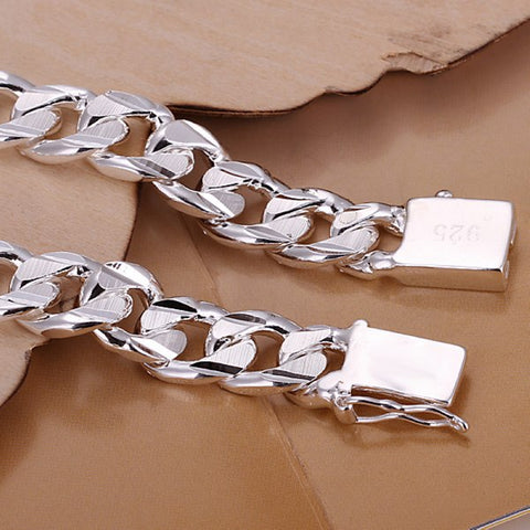 Solid Silver Plated Bracelet for Men & Women