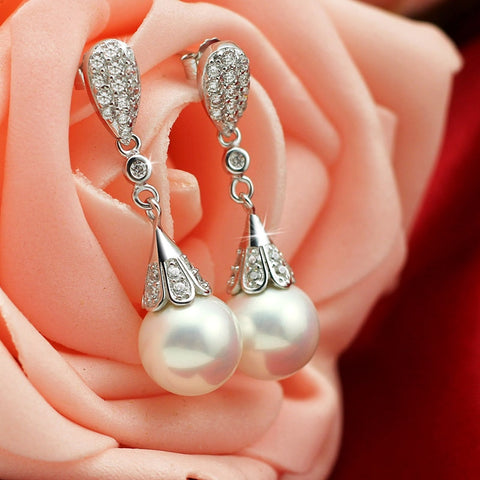 Natural Pearl | Silver Earrings with CZ Crystal | Earrings for Women