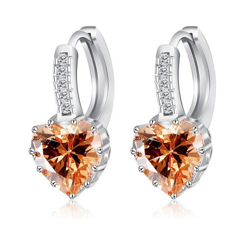 Luxury Heart Shaped Cubic Zirconia | Silver Earrings For Women