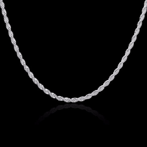 Silver Rope Necklace 3 mm Width
