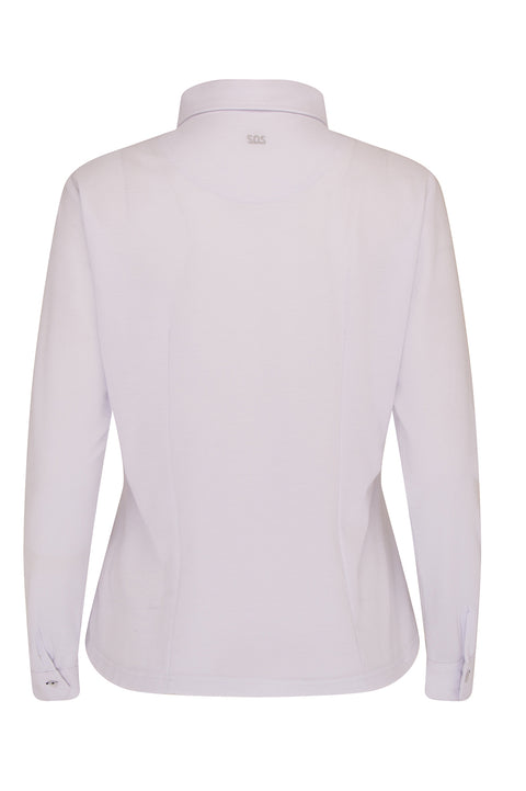 Aspen Long Sleeve Pique Polo | White
