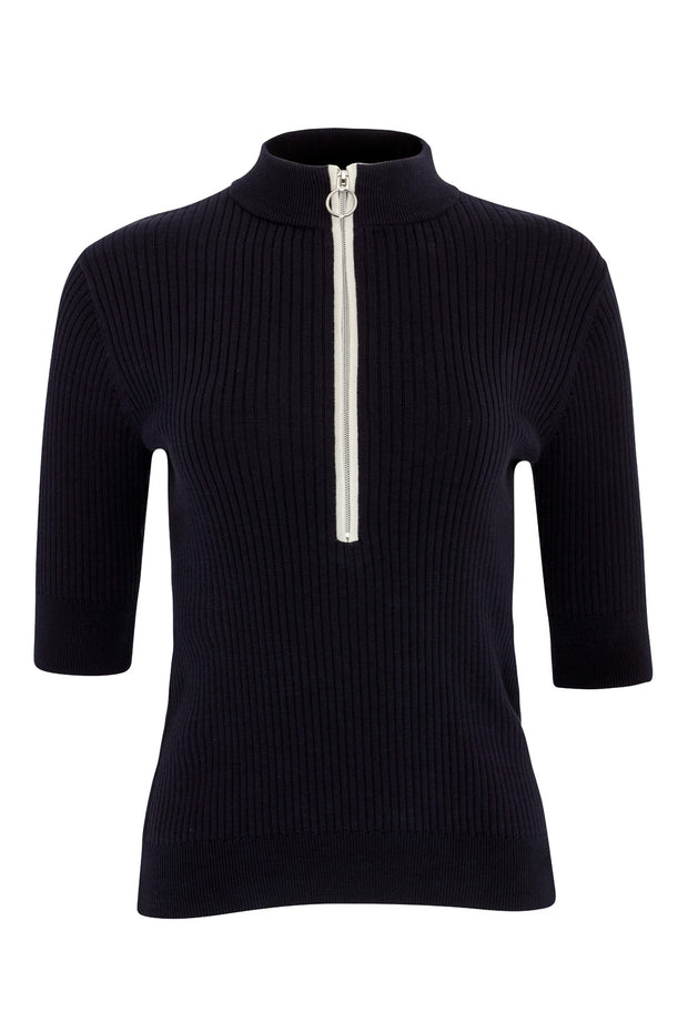 Carmel Ribbed Zip Polo
