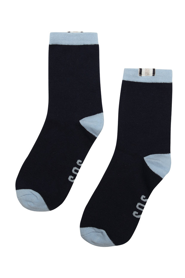 Claudia Socks | Navy, Silver & Powder Blue
