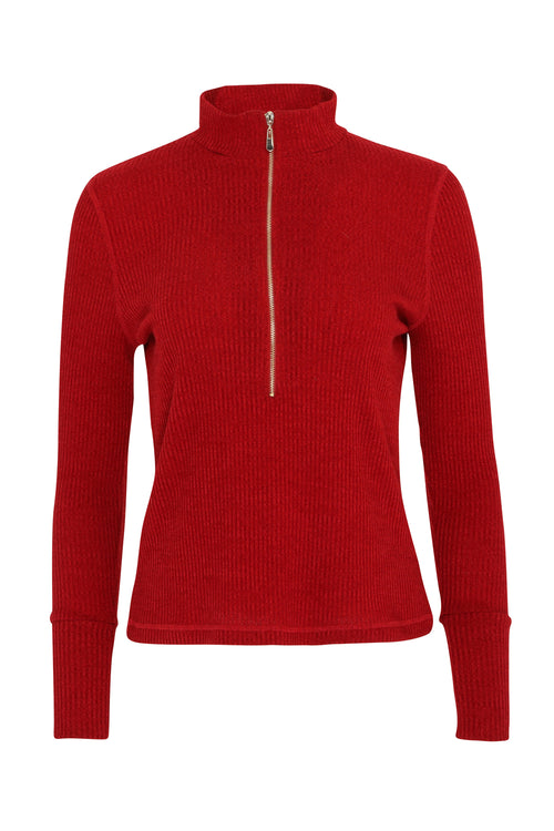 Evelyn 1/4 Zip Turtle Neck | Chilli Red