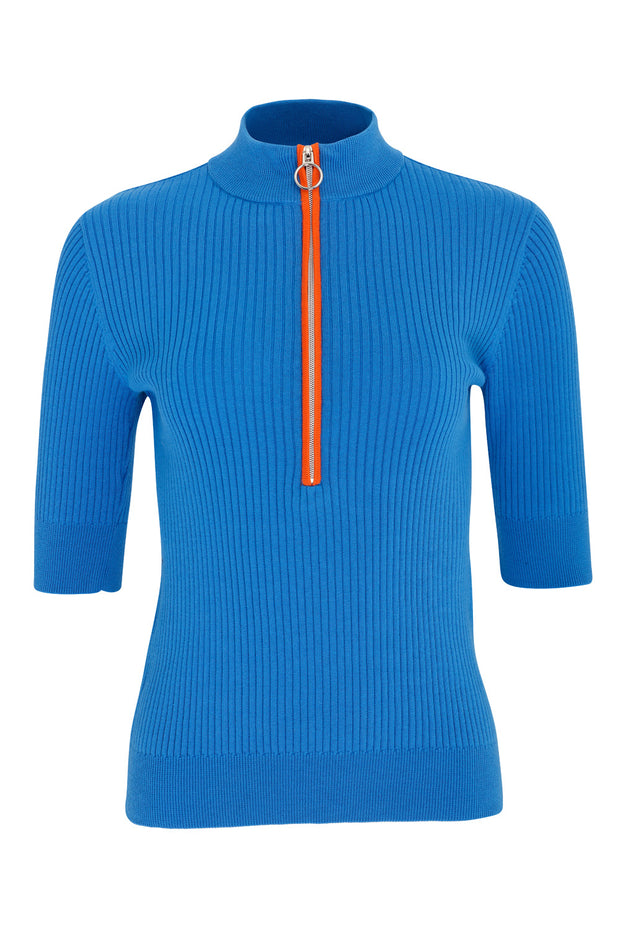 Monterey Cotton Zip Polo | Royal Blue