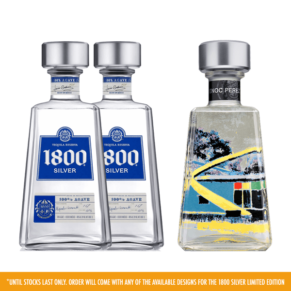 2 1800 Silver Tequila + 1800 Limited Edition Bottle